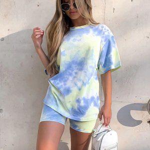 NEW Blue Tie Dye Short/Tshirt Set